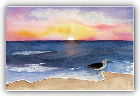 Dusk_SeaScape_Watercolor_by_Sandra_Gale frame new